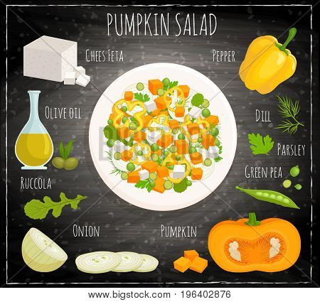 Recipe for pumpkin salad with feta onion and green peas. Vector illustration. Food with ingredients. Top view.