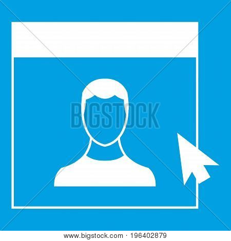 Cursor point to person on monitor in simple style isolated on white background vector illustration