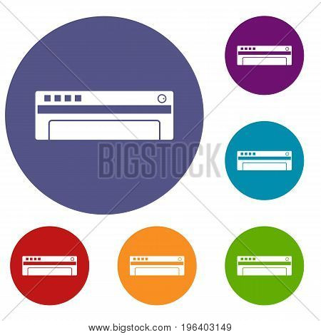 Conditioner icons set in flat circle red, blue and green color for web