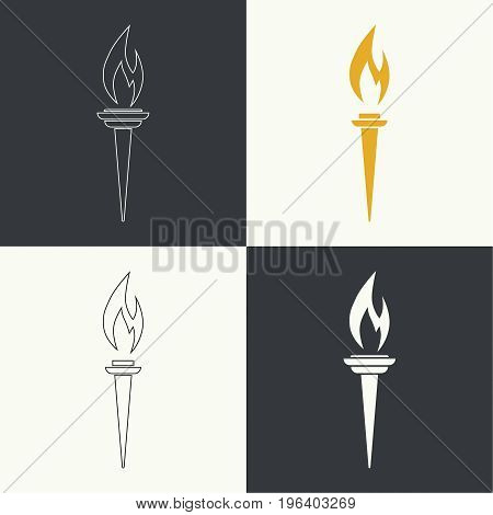Vector icon of  torch with a flame. Set different torches. Linear icon. Outline, line art