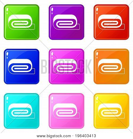 Spa towel icons of 9 color set isolated vector illustration