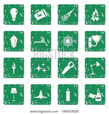 Light source symbols icons set in grunge style green isolated vector illustration