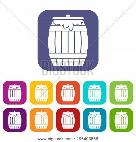 Honey keg icons set vector illustration in flat style in colors red, blue, green, and other
