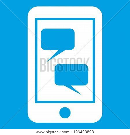 Smartphone and speech bubbles on the screen in simple style isolated on white background vector illustration