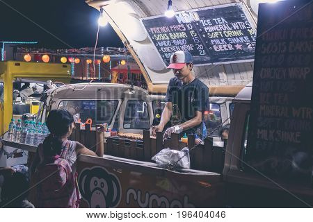 BALI, INDONESIA - JULY 8, 2017: Indonesian street food cafe, fast food on festival on Bali.