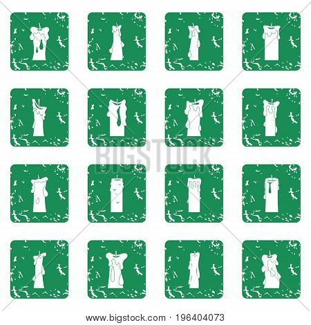 Candle forms icons set in grunge style green isolated vector illustration