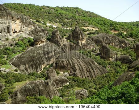Incredible rock formations of Meteora, Kalambaka, Kastraki, Greece