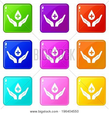 Hands holding blood drop icons of 9 color set isolated vector illustration