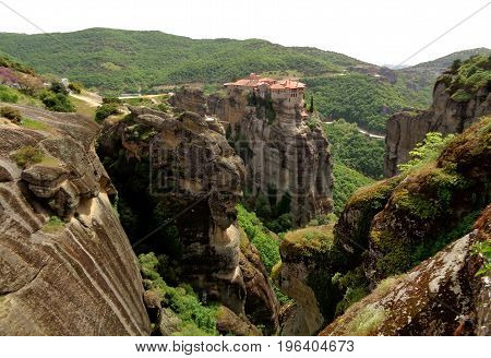 The Holy Monastery of Varlaam on the peak of limestone rock formations, Meteora, Greece