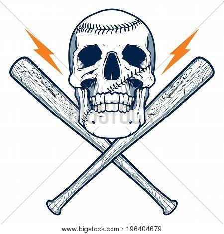 Baseball bats with skull isolated on white background
