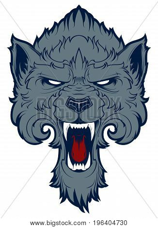 Roaring wolf head isolated on white background