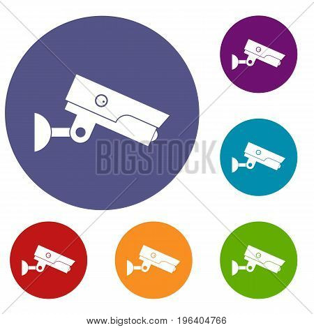 Security camera icons set in flat circle red, blue and green color for web