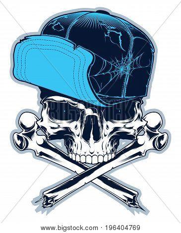 Gangster. Cartoon skull with cross bones and cap