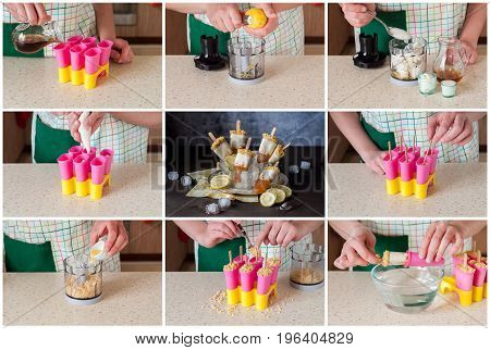 A Step by Step Collage of Making Iced Tea Cheesecake Popsicles