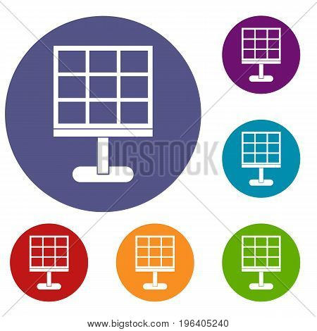 Solar battery icons set in flat circle red, blue and green color for web