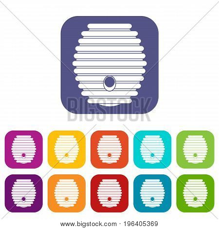 Beehive icons set vector illustration in flat style in colors red, blue, green, and other