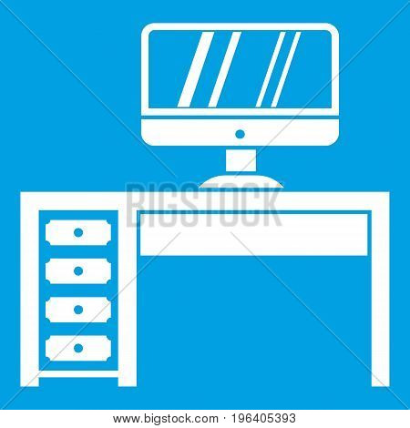 Computer desk, workplace in simple style isolated on white background vector illustration