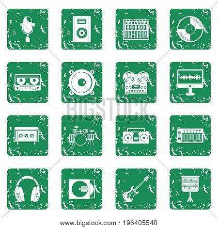 Recording studio items icons set in grunge style green isolated vector illustration