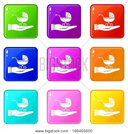 Baby pram protection icons of 9 color set isolated vector illustration