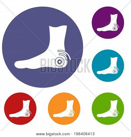 Foot heel icons set in flat circle red, blue and green color for web