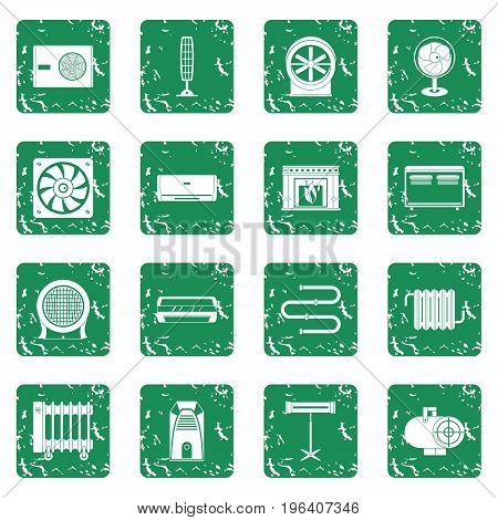 Heating cooling air icons set in grunge style green isolated vector illustration