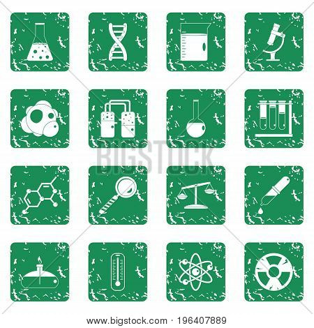 Chemical laboratory icons set in grunge style green isolated vector illustration