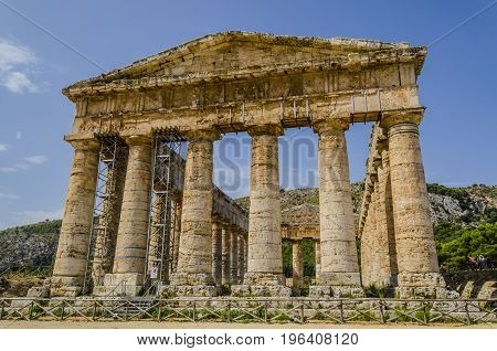 Excellent conservation of the Greek temple of doric style of the fifth century before Christ near Palermo in sicily