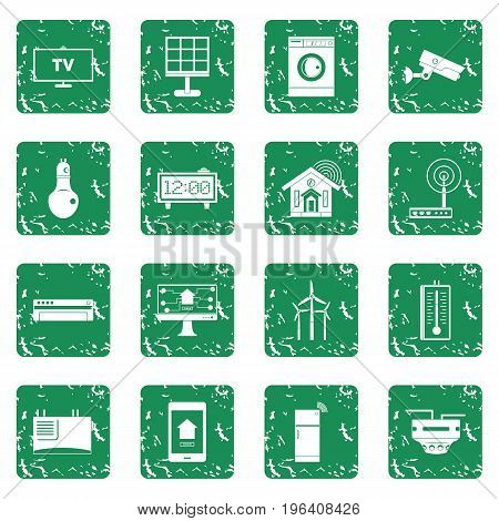 Smart home house icons set in grunge style green isolated vector illustration