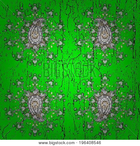 Green and white background with elements. Vector white floral ornament brocade textile pattern. White pattern. Floral pattern.