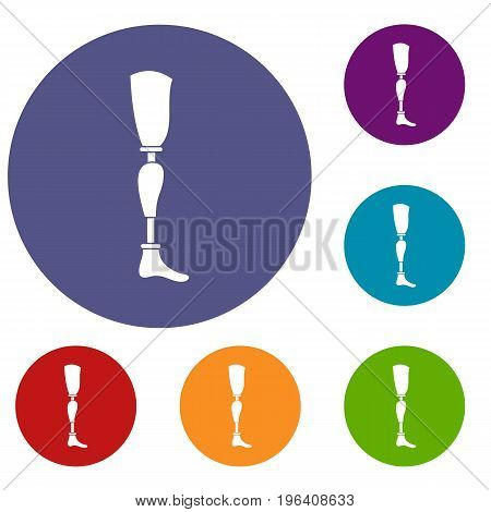 Prosthesis leg icons set in flat circle red, blue and green color for web