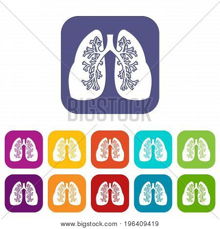 Lungs icons set vector illustration in flat style in colors red, blue, green, and other
