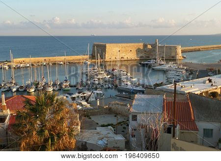 Castello a Mare or the Koules Fortress, Historic Venetian Fortress at the Old Port of Heraklion, Crete Island, Greece