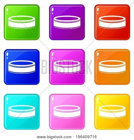 Puck icons of 9 color set isolated vector illustration
