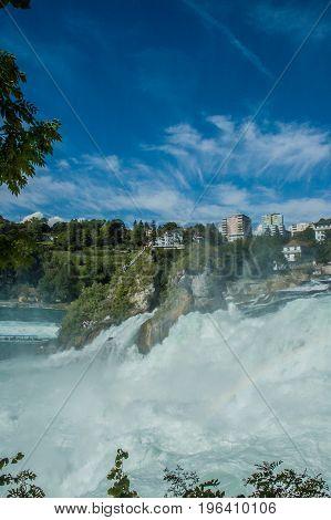 Rhine Falls water flow and rocks Switzerland