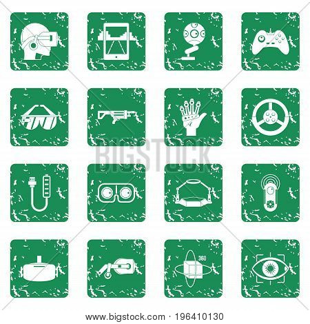 Virtual reality icons set in grunge style green isolated vector illustration