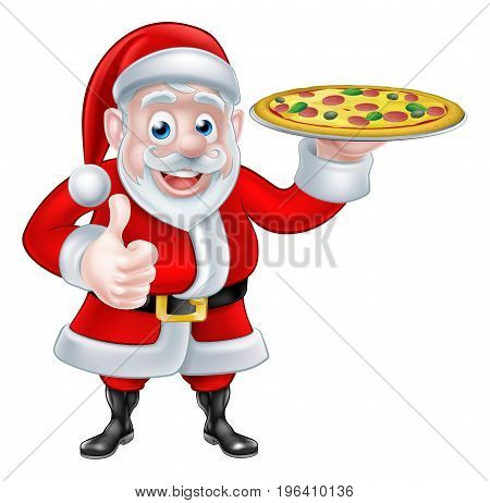 Cartoon Santa Claus holding a pizza and giving a thumbs up