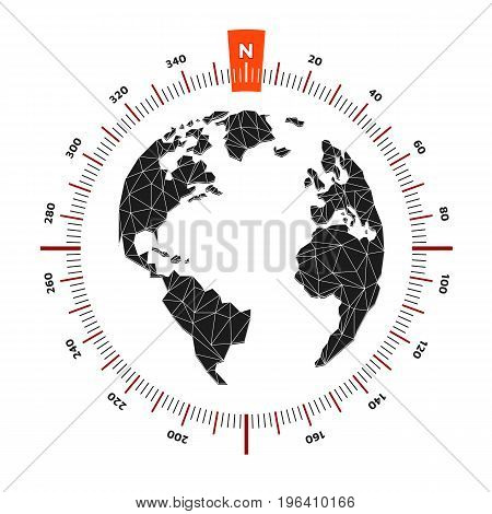 Globe world map compass nautical travel. Scale is 360 degrees. North designation. America Europe Atlantic Ocean. Lowpoly triangular. Vector illustration. White background. Eps10.