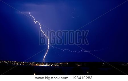 Fork Lightning over Torquay Harbour. Thunderstorm with lightning