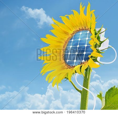 Illustration of a sunflower with integrated solar panel - ecology and energy saving concept