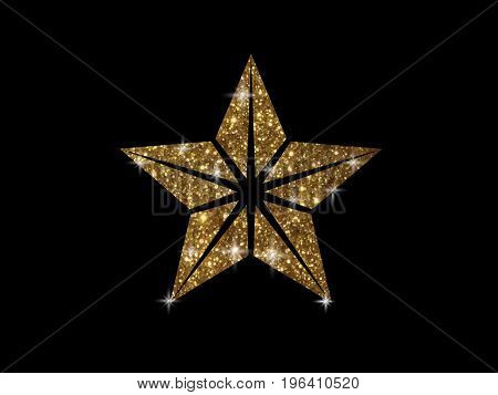 Vector Golden Glitter Review Star Icon On Black Background