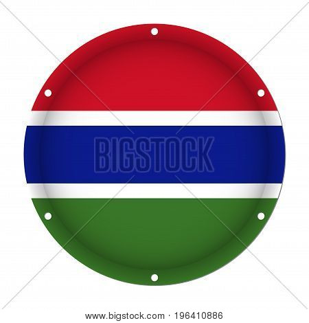 round metallic flag of Gambia with six screw holes in front of a white background