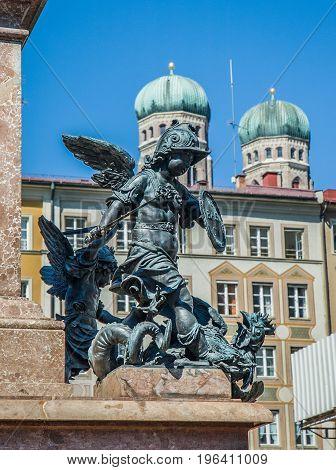 Statue detail in Marienplatz Munich, Bavaria, Germany