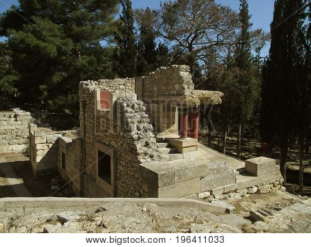 Remains of Ancient Archaeological Site of Knossos, Heraklion, Crete Island of Greece