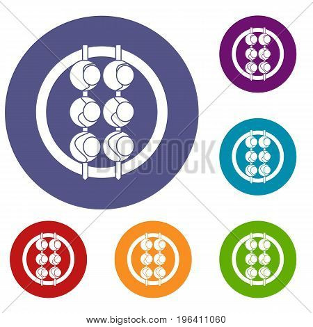 Asian shashlik icons set in flat circle red, blue and green color for web