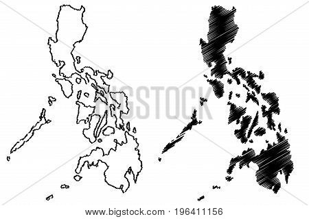 Philippines map vector illustration , scribble sketch Philippines