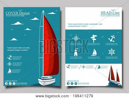 Yacht club flyer design with sail boat. Luxury yacht race, sea sailing regatta banner vector illustration.