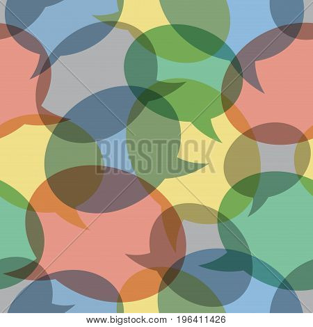 seamless pattern illustration - overlapping transparent color speech bubbles different sizes