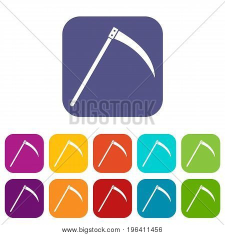 Scythe icons set vector illustration in flat style in colors red, blue, green, and other
