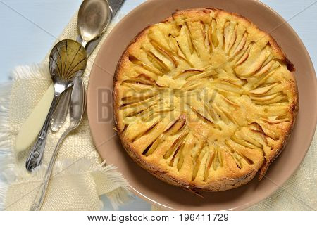 Semolina pie with apples, Serbian koh,  top view
