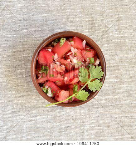 Homemade sauce pico de gallo salsa, top view
